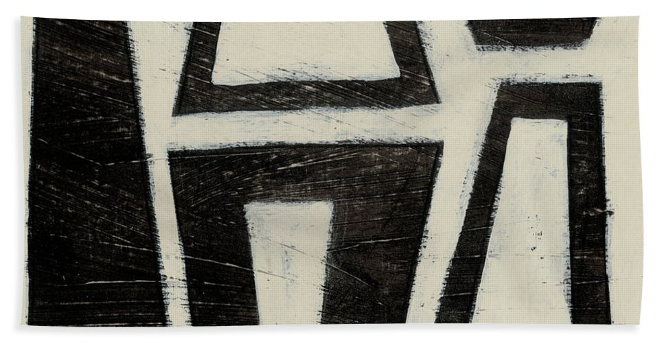 Abstract Bath Towel featuring the painting Hieroglyph Vii by June Erica Vess