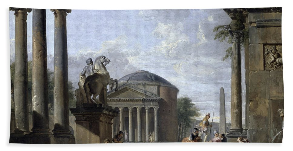 Giovanni Paolo Pannini Bath Towel featuring the painting Landscape With Roman Ruins by Giovanni Paolo Panini