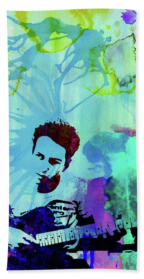 Joe Strummer Hand Towel featuring the mixed media Legendary Joe Strummer Watercolor by Naxart Studio