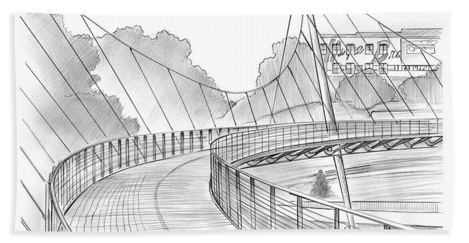 Liberty Bridge Hand Towel featuring the drawing Liberty Bridge by Greg Joens