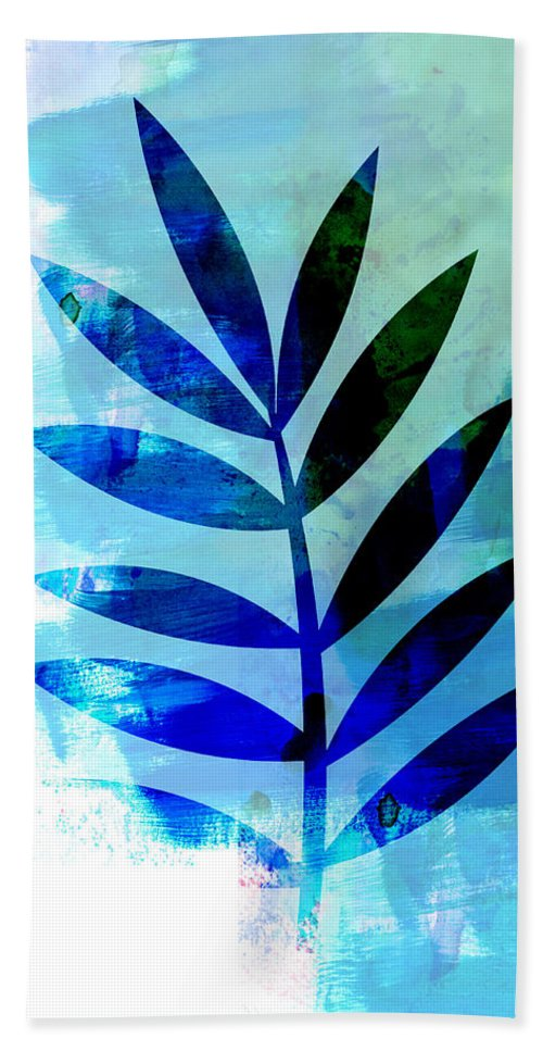 Tropical Leaf Hand Towel featuring the mixed media Lonely Leaf Watercolor II by Naxart Studio