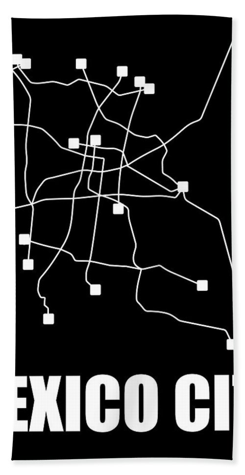 Mexico City Hand Towel featuring the digital art Mexico City Black Subway Map by Naxart Studio