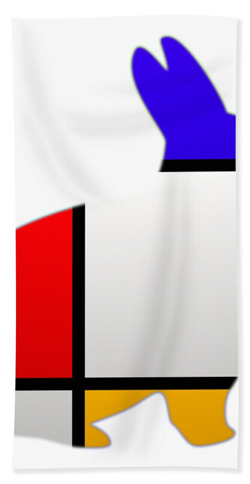 White Rabbit Hand Towel featuring the digital art Modern White by Charles Stuart