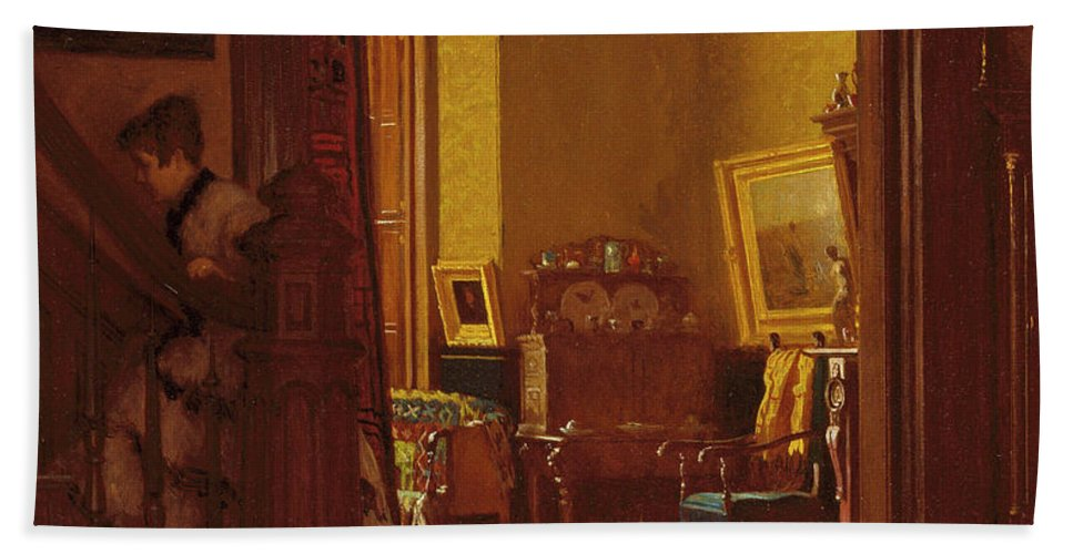 Not At Home Hand Towel featuring the painting Not At Home by Eastman Johnson