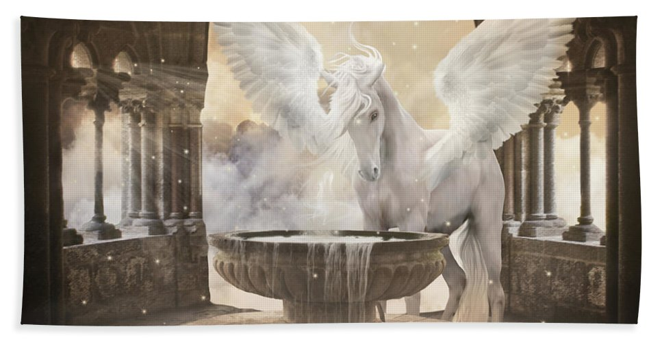 Pegasus Bath Sheet featuring the digital art Pegasus by Babette Van den Berg