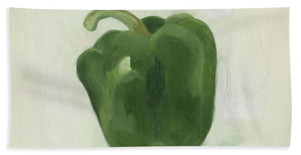 Kitchen Hand Towel featuring the painting Pepper Study II by Emma Scarvey