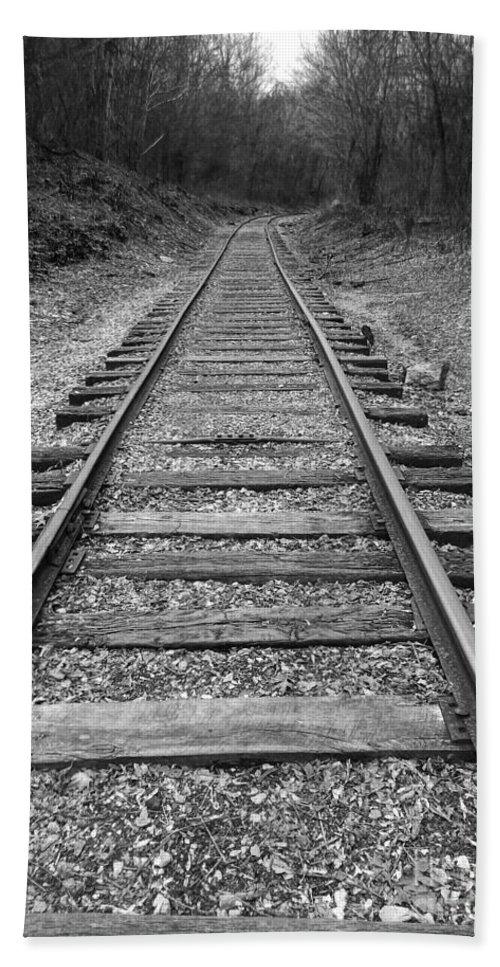 Rails Hand Towel featuring the digital art Railroad Tracks by Phil Perkins