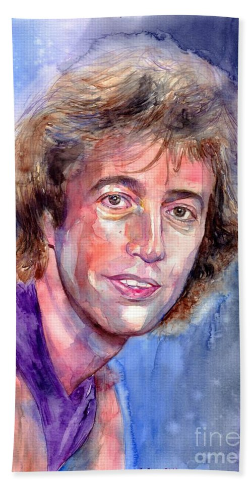 Robin Bath Towel featuring the painting Robin Gibb Portrait by Suzann Sines