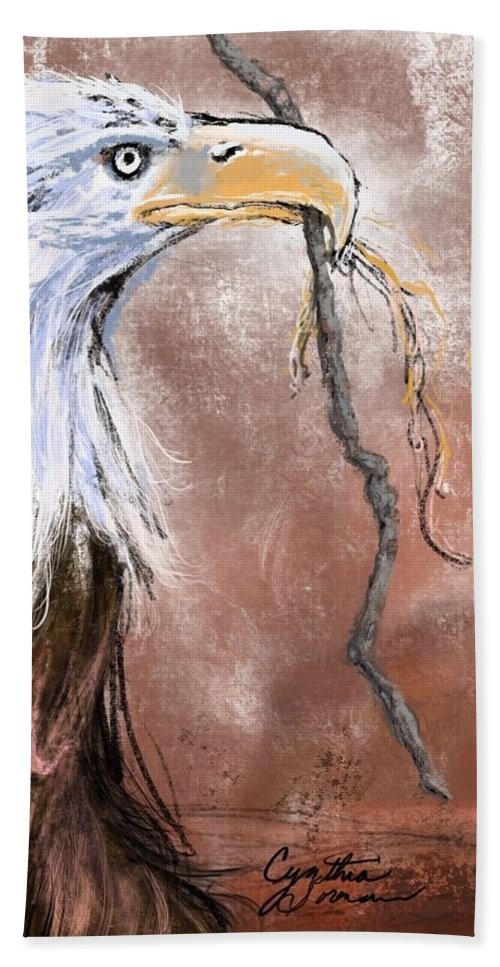 Bald Eagle Bath Towel featuring the digital art Shadow 1 by Cynthia Sorensen