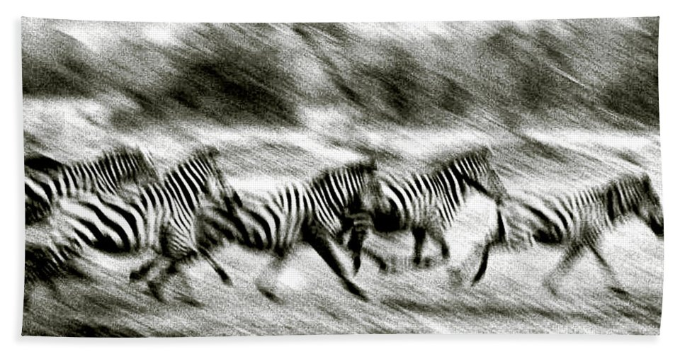 Photography Hand Towel featuring the photograph Stampeding Zebra 1 by Colby Chester