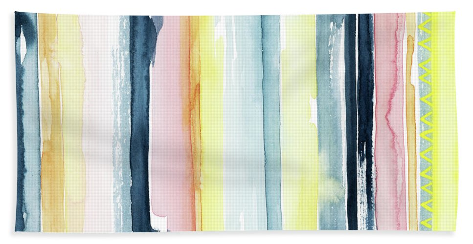 Abstract Bath Towel featuring the painting Sunset Stream II by Grace Popp