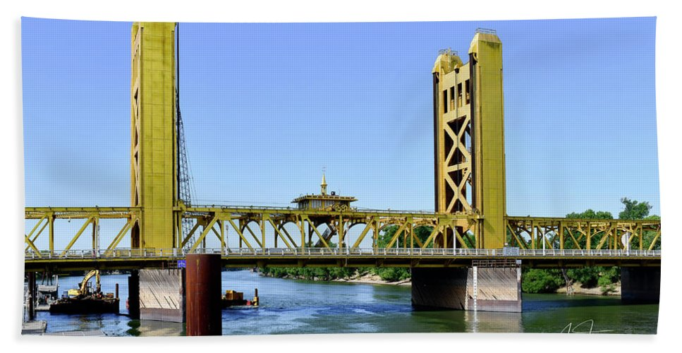 Old Town Sacramento Hand Towel featuring the photograph The Tower Bridge by Jim Thompson