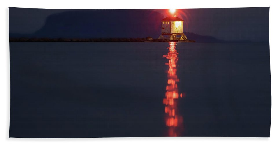 Abstract Hand Towel featuring the photograph Thunder Bay Harbour Lighthouse by Jakub Sisak