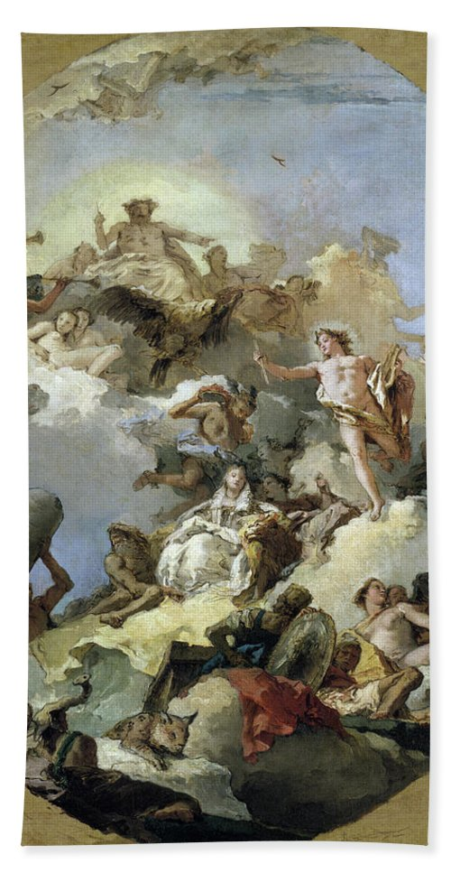B1019 Bath Towel featuring the painting The Apotheosis of the Spanish Monarchy, c1765 by Giovanni Battista Tiepolo