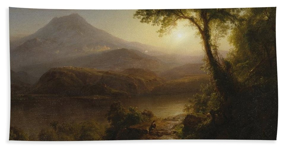 Tropical Scenery Hand Towel featuring the painting Tropical Scenery by Frederic Edwin Church