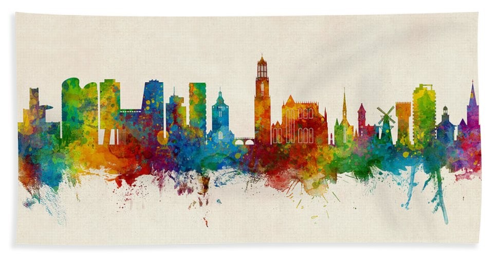 Utrecht Hand Towel featuring the digital art Utrecht The Netherlands Skyline by Michael Tompsett
