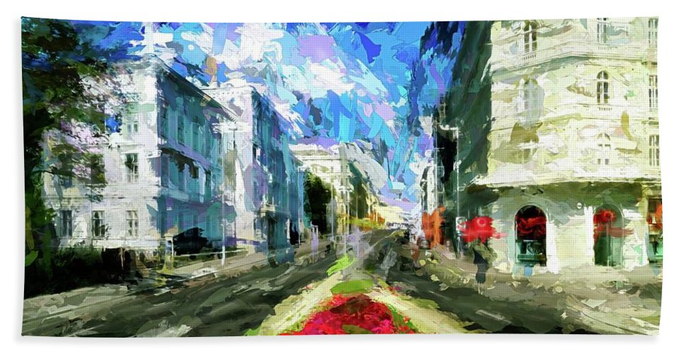 Abstract Hand Towel featuring the photograph Vienna Austria by Robert Kinser