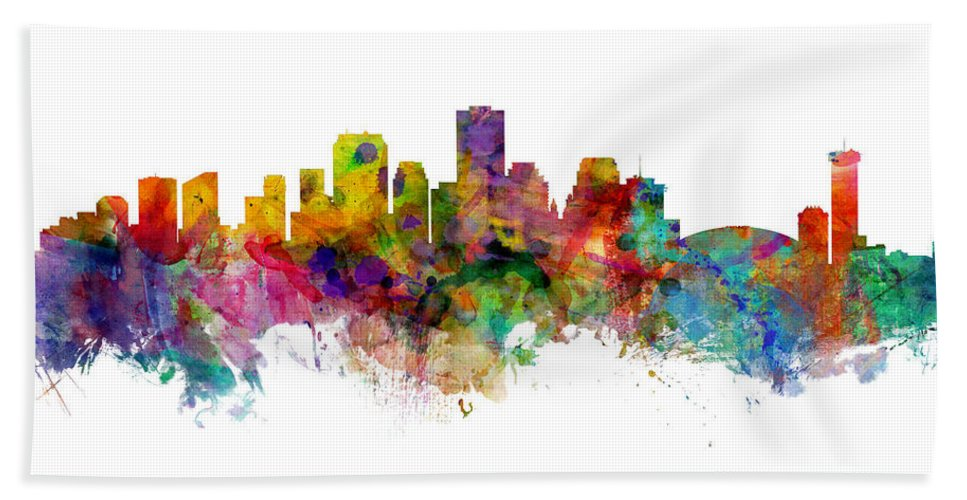 New Orleans Hand Towel featuring the digital art New Orleans Louisiana Skyline by Michael Tompsett