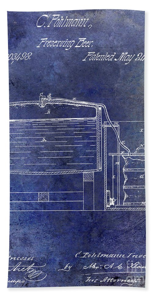 Beer Bath Towel featuring the photograph 1870 Beer Preserving Patent Blue by Jon Neidert
