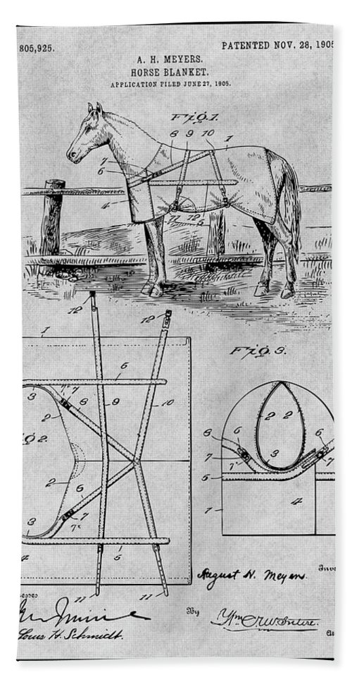 Art & Collectibles Bath Towel featuring the drawing 1905 Horse Blanket Patent Print Gray by Greg Edwards