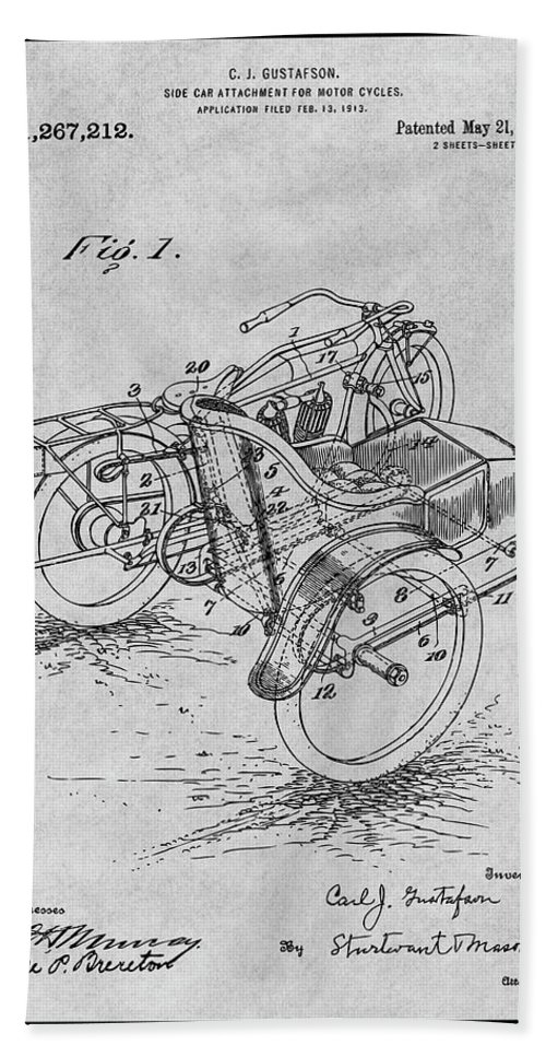1913 Side Car Attachment For Motorcycle Patent Print Bath Sheet featuring the drawing 1913 Side Car Attachment For Motorcycle Gray Patent Print by Greg Edwards