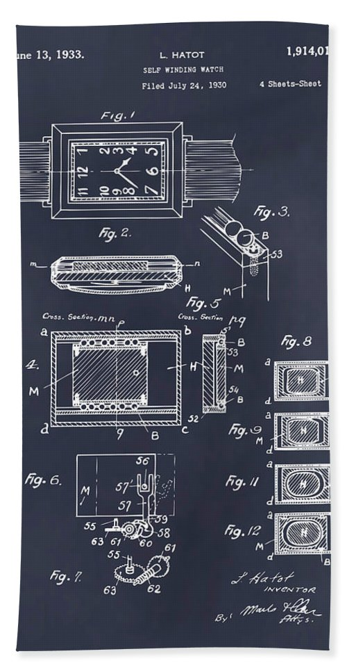 Art & Collectibles Bath Towel featuring the drawing 1930 Leon Hatot Self Winding Watch Patent Print Blackboard by Greg Edwards
