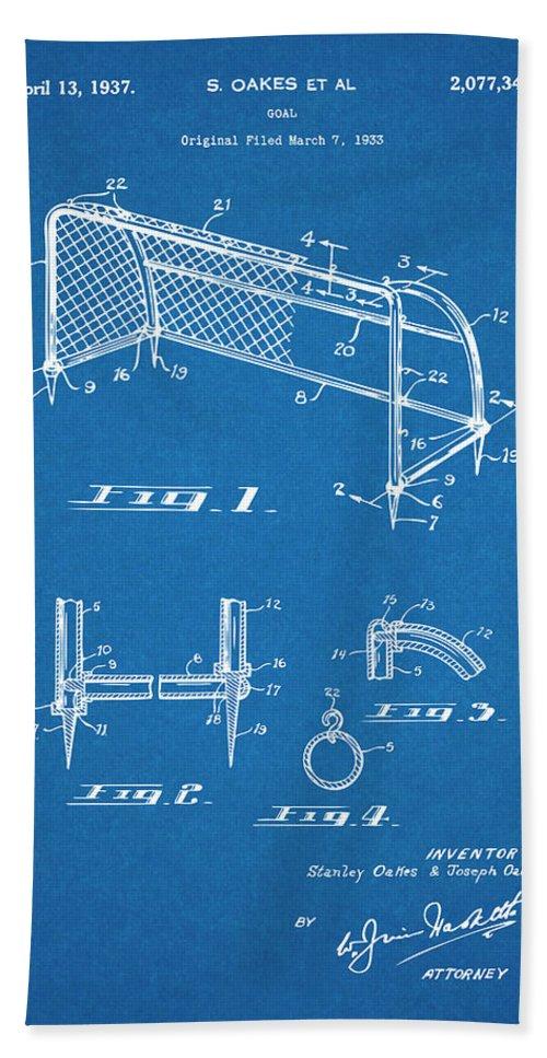 1933 Soccer Goal Patent Print Bath Sheet featuring the drawing 1933 Soccer Goal Blueprint Patent Print by Greg Edwards
