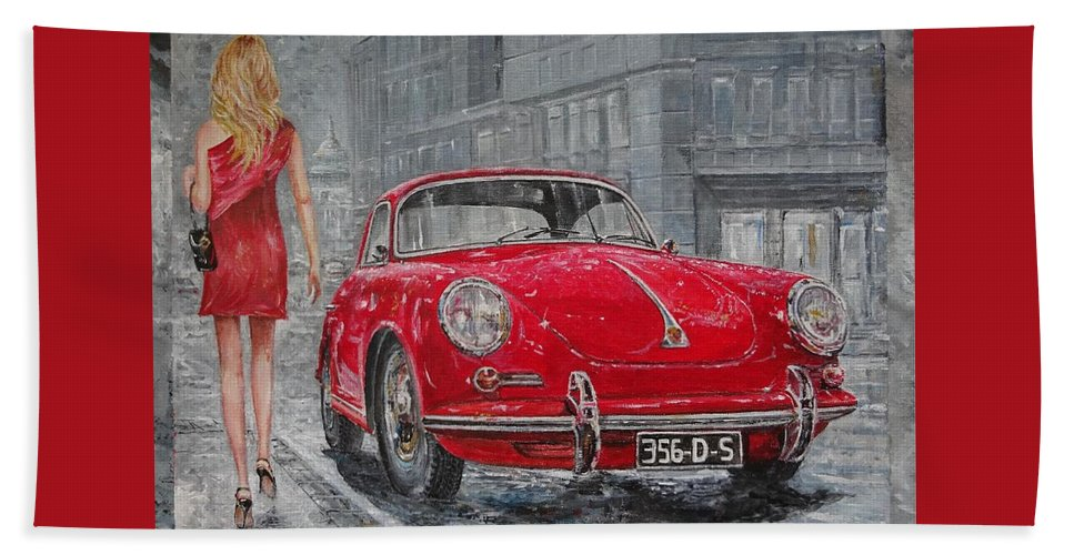 Classic Car Paintings Hand Towel featuring the painting 1965 Porsche 356 C by Sinisa Saratlic