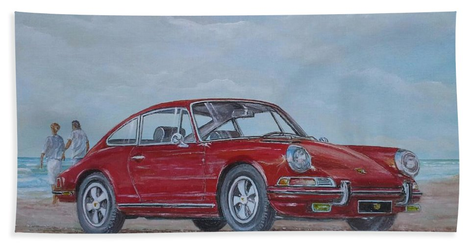 Classic Cars Paintings Hand Towel featuring the painting 1968 Porsche 911 2.0 S by Sinisa Saratlic