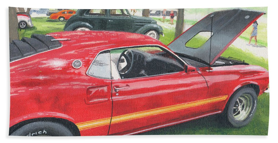Muscle Car Bath Towel featuring the painting 1970 Mustang Mach 1 by Norb Lisinski