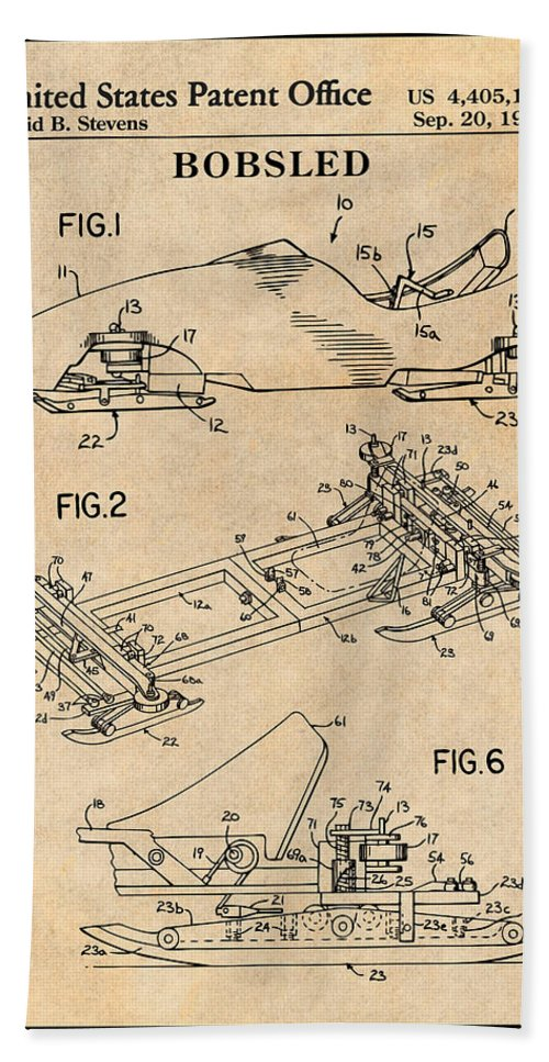 1982 Bobsled Patent Print Bath Sheet featuring the drawing 1982 Bobsled Antique Paper Patent Print by Greg Edwards
