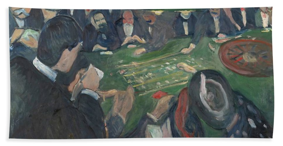 Edvard Munch Hand Towel featuring the painting At The Roulette Table In Monte Carlo by Edvard Munch