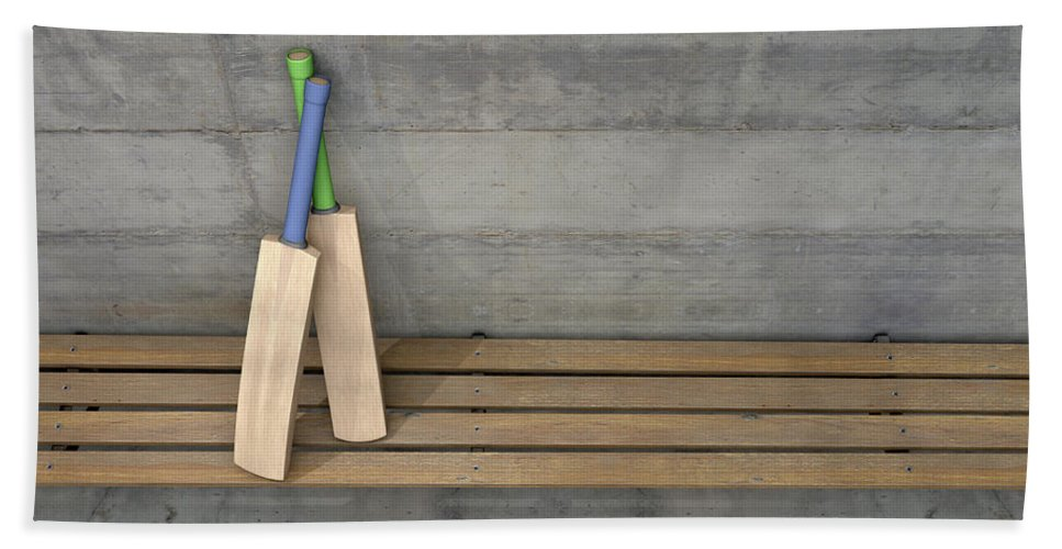 Cricket Bath Towel featuring the digital art Cricket Bat In Change Room 2 by Allan Swart
