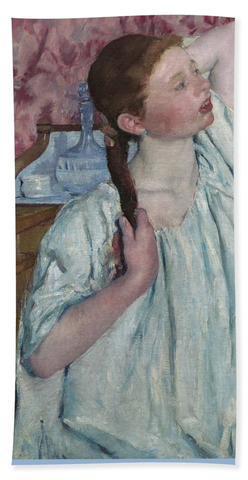 Mary-cassatt Bath Sheet featuring the painting Girl Arranging Her Hair  by Mary Cassatt