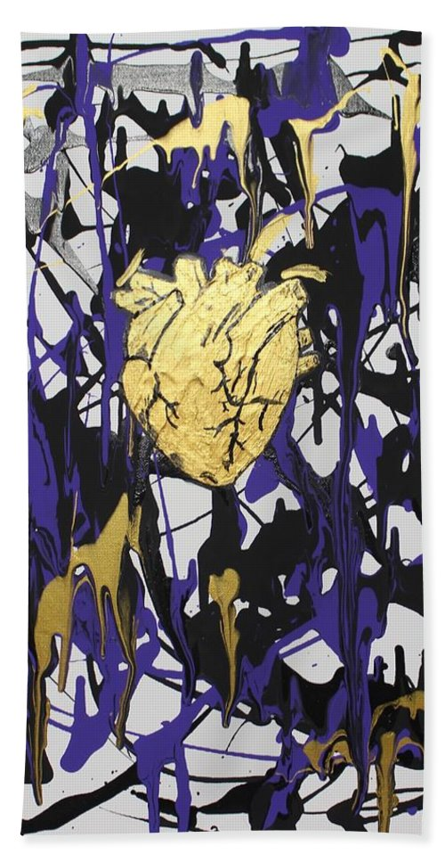 Love Bath Towel featuring the painting Madness Behind the Beauty by Sonye Locksmith