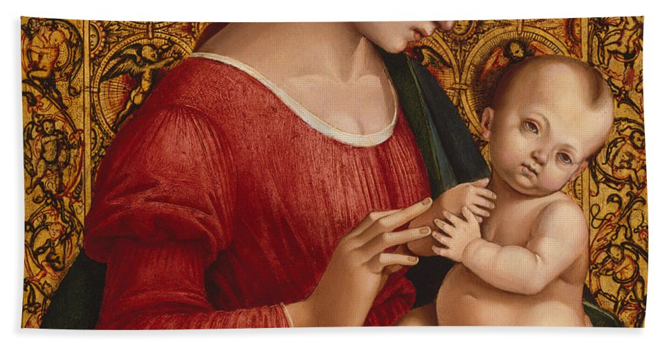 16th Century Art Hand Towel featuring the painting Madonna And Child by Luca Signorelli