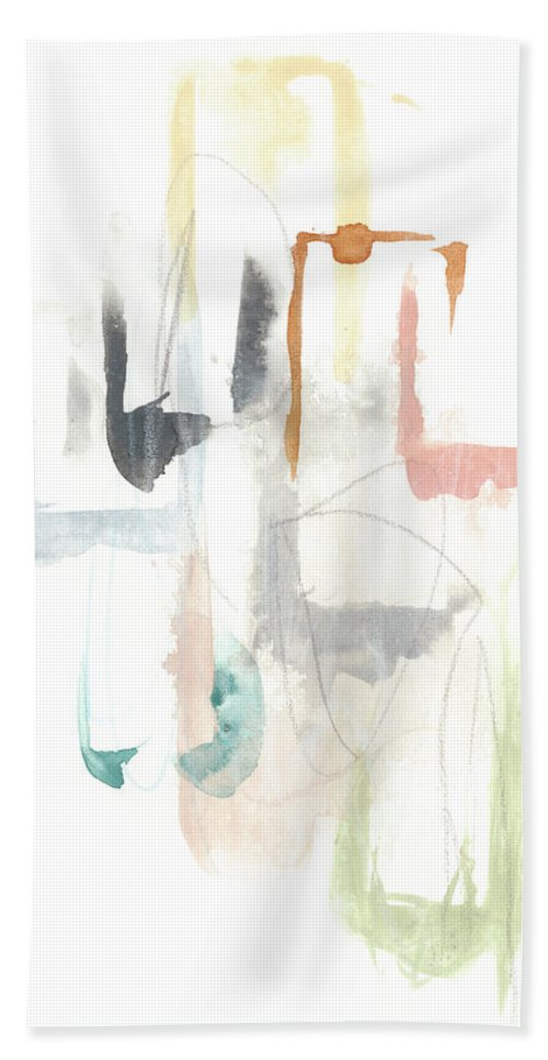 Abstract Bath Towel featuring the painting Pastel Windows I by June Erica Vess