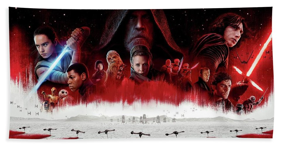 Star Wars The Last Jedi Bath Towel featuring the digital art Star Wars The Last Jedi by Geek N Rock
