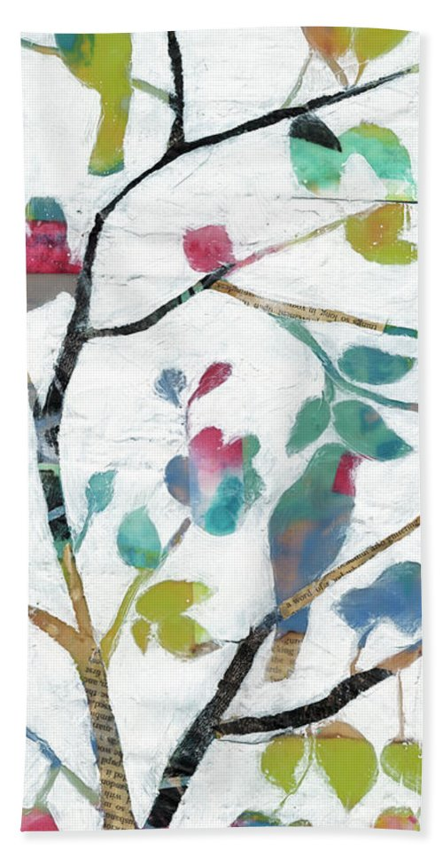 Animals Bath Towel featuring the painting Woodland Story Iv by Jennifer Goldberger