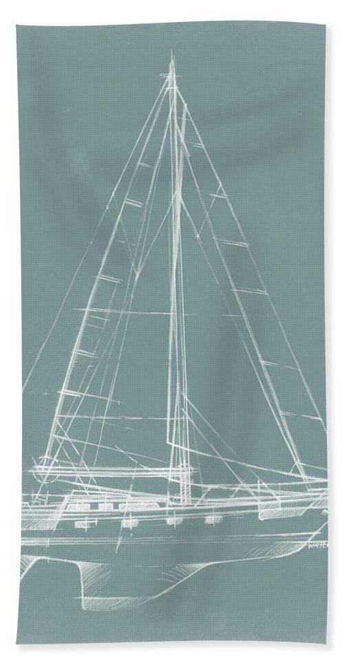 Transportation Bath Towel featuring the painting Yacht Sketches II by Ethan Harper