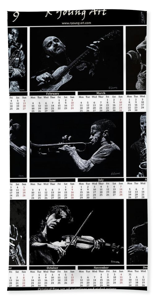 2019 Bath Sheet featuring the painting 2019 High Resolution R Young Art Musicians Calendar by Richard Young