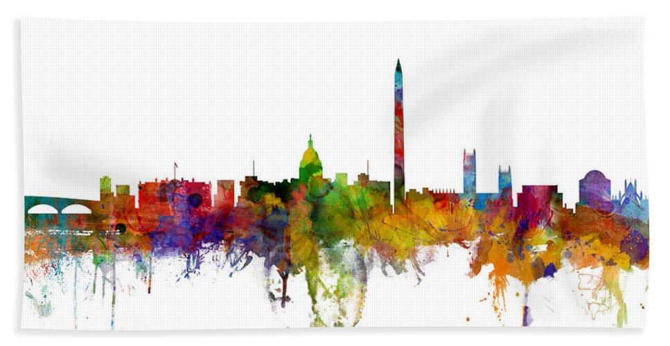 United States Bath Towel featuring the digital art Washington DC Skyline by Michael Tompsett