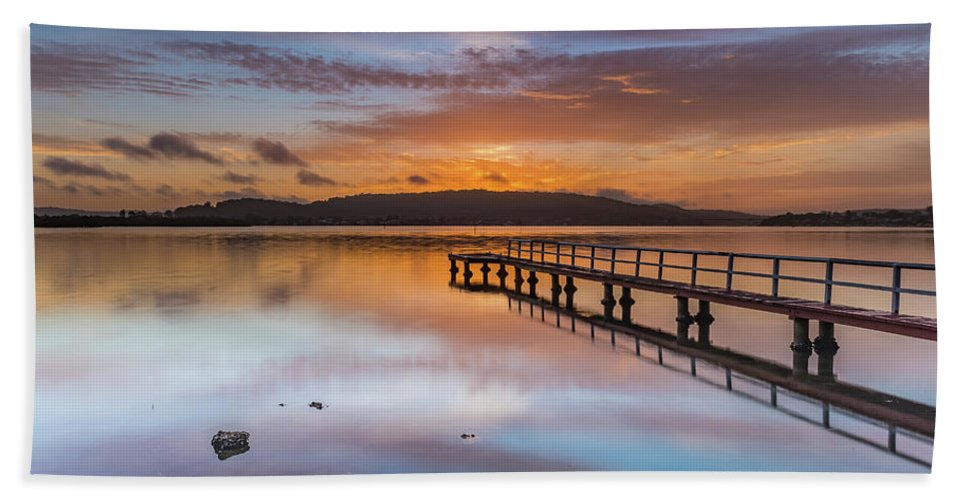 Australia Hand Towel featuring the photograph Early Morning Clouds And Reflections On The Bay by Merrillie Redden