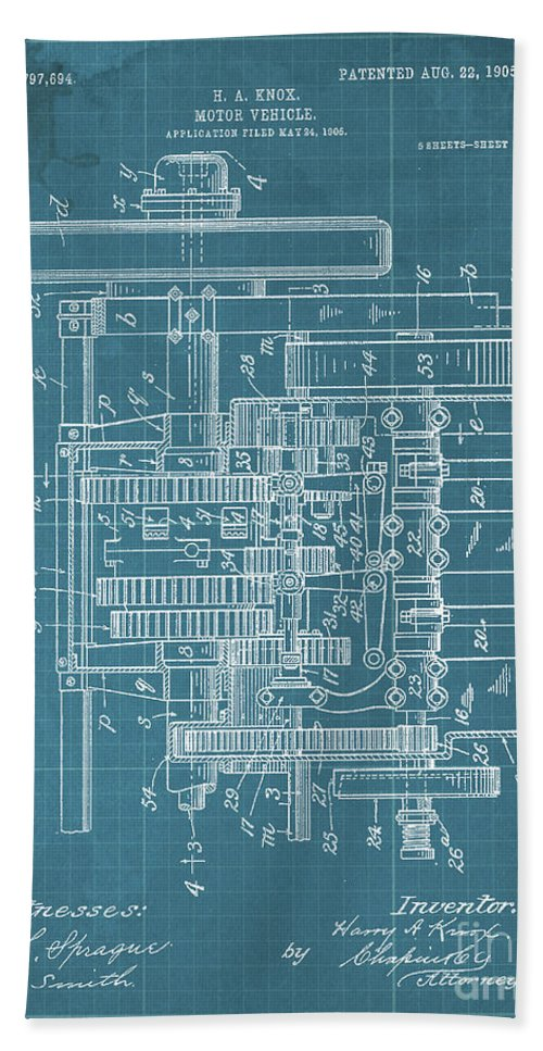 Bath Towel featuring the drawing Motor Vehicle Patent Colored Vintage Art Print Year 1905 Blueprint by Drawspots Illustrations
