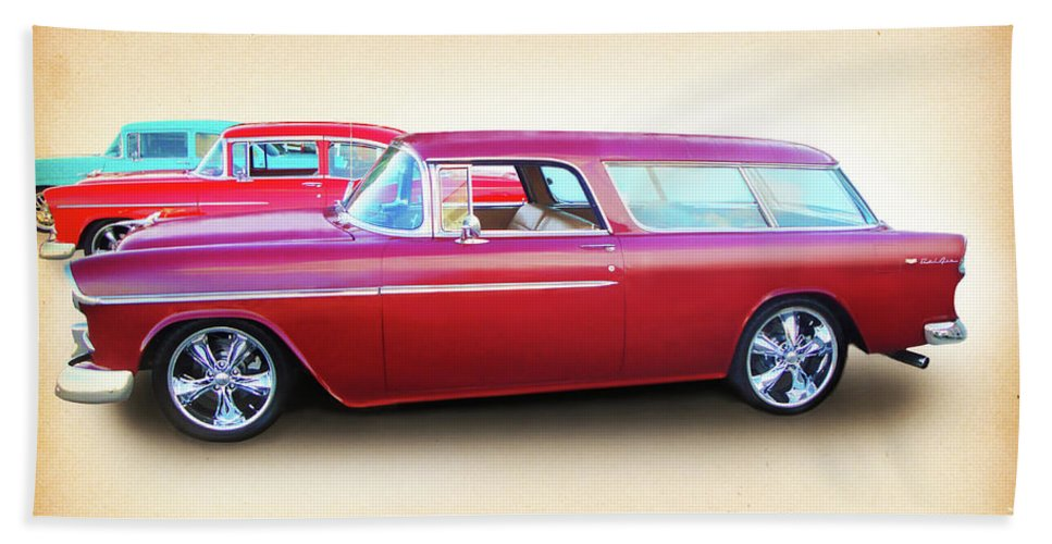 1955 Chevy Bath Towel featuring the digital art 3 - 1955 Chevy's by Rick Wicker