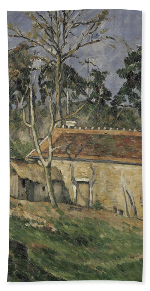 Paul Cezanne Bath Sheet featuring the painting Farmyard by Paul Cezanne