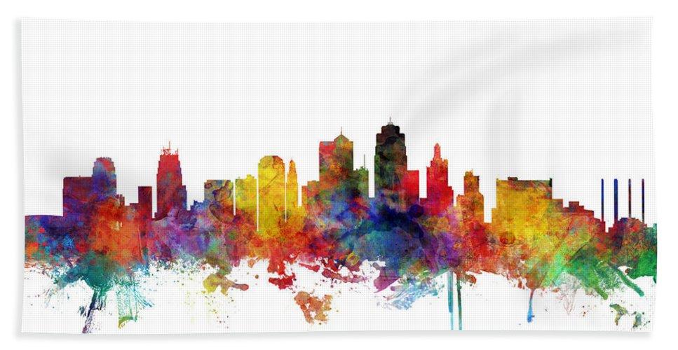 Kansas City Hand Towel featuring the digital art Kansas City Missouri Skyline by Michael Tompsett