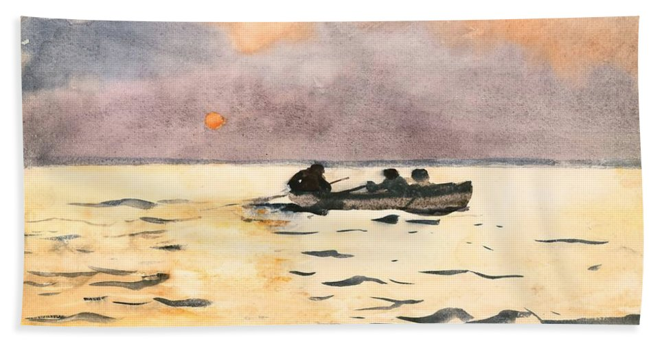Winslow Homer (1836 1910) Hand Towel featuring the painting Rowing Home by Winslow Homer