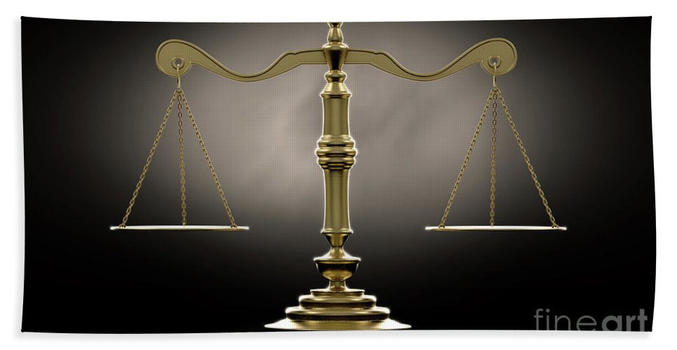 Scale Bath Towel featuring the digital art Scales Of Justice Dramatic by Allan Swart