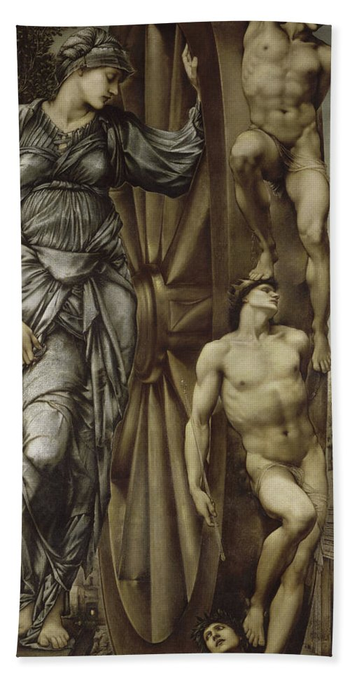 British Hand Towel featuring the painting The Wheel Of Fortune by Edward Burne-Jones